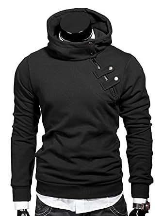 MT Styles Kapuzenpullover Hoher Kragen Pullover Hoodie S-135 [Schwarz, S]