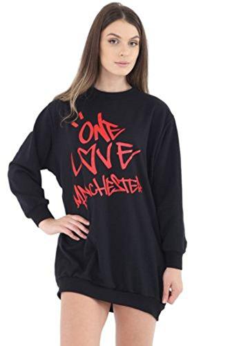 Ladies Girls Love Manchester Sweatshirt EUR EUR Taille 36-44 Noir - Sweatshirt
