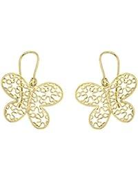 Lucchetta - Parure Collier Oreilles Femmes Papillon 14 carats 585/1000 Pendentif Or Jaune