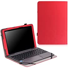 MoKo Asus Transformer Book T100HA Funda - Slim Folding Keyboard Portfolio Cover Funda Para Asus Transformer Book T100Ha Windows 10 2-In-1 Laptop (Not Fit For T100 Chi), Rojo