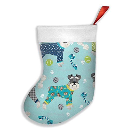 Sweet grape Christmas Stockings Schnauzers in Jammies Zippered Stocking with White Polyester Cuff