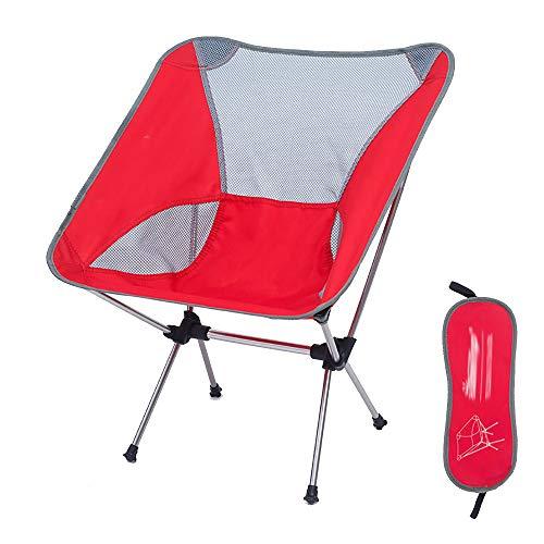 Chaise Pliante Camping en Plein Air Chaise Pliante Lune Chaise De PêChe Chaise Directeur Chaise Aviation en Aluminium Chaise Ultra LéGer Portable Rouge 57 * 35 * 65cm