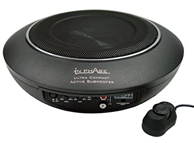 IN PHASE Audio USW10 300 Watt Underseat Active Subwoofer including Remote Bass Controller/Wiring Kit - Black