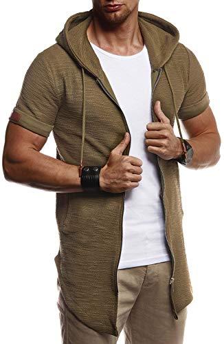 LEIF NELSON Herren Sommer Jacke mit Kapuze Sweatjacke T-Shirt Slim Fit Basic Baumwolle-Anteil | Basic Männer Kapuzenjacke | Kapuzenshirt Hoodie-Sweater Kurzarm lang | LN8301 Khaki Large (Herren-designer-t-shirts)