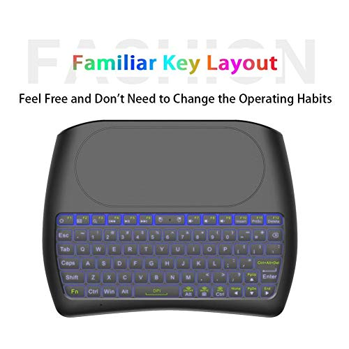 Mugast Mini Tastatur,Tragbar 2.4GHz Wireless Keyboard Mini Kabellose RGB LED Beleuchtete Tastatur,Ergonomisch 79-Tasten Tastatur Keyboard mit Touchpad für PC/Mac/Xbox 360/PS3/PS4