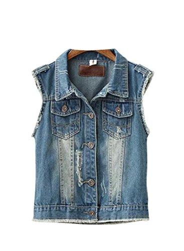 Molly Frauen Beiläufige Denim Weste Jeansjacke Damen L Wie Das Bild