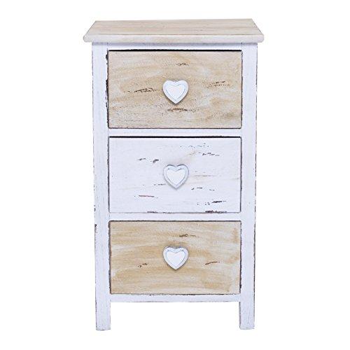 Rebecca mobili comodino bianco beige, cassettiera 3 cassetti, stile shabby, camera bagno - misure: 53,5 x 35 x 29 cm (hxlxp) - art. re4381