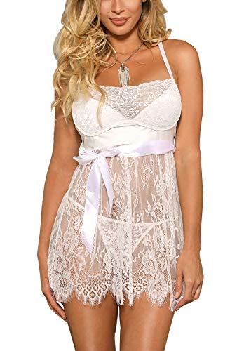 marysgift Damen Weiß Kleider Babydoll Lingerie Mesh Spitzen Nachtwäsche Dessous Set Sleepwear Dress Reizwäsche Negligee mit G-String Reizwäsche Große Größen XXXXXL