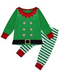 FRAUIT Conjunto de Pijamas Familiares de Navidad Ropa Verde navideña + pantalón a Rayas Familiares Ropa de Dormir Traje a Juego de Navidad Mujer Hombre Bebé Niño Niña de Pijamas