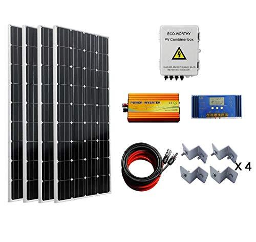 ECO-WORTHY 600 W Solarpanel-Solarpanel-Set, 4 Stück 150 W Polypanel, Solar-Kombinationsbox, 1000 W Wechselrichter, 60 A Laderegler, 4,6 m Kabel und Halterungen