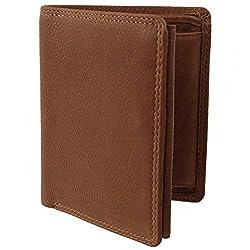 Visconti Mens Tan Leather Bi-Fold Wallet ; Darwin Range Change Section Box Oak