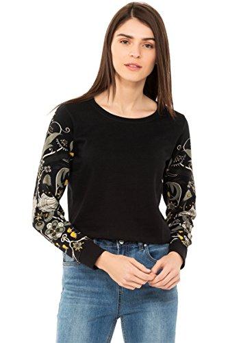 Chumbak Orchids Printed Sleeves Black Crop Sweatshirt - M