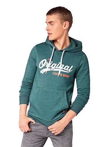 TOM TAILOR Denim für Männer Strick & Sweatshirts Hoodie mit Schrift-Print Deep Green Lake Non-Solid, M Lake Hoodie Sweatshirt