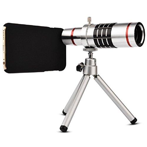 Elecguru - Lente para cámara, universal, telescopio óptico universal, zoom 18x, con trípode