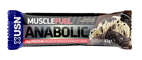 USN Muscle Fuel Anabolic Protein Bar, 20 g with Protein Muscle Mass Catalyst Bar, Cookies and Cream, 12 x 65 g
