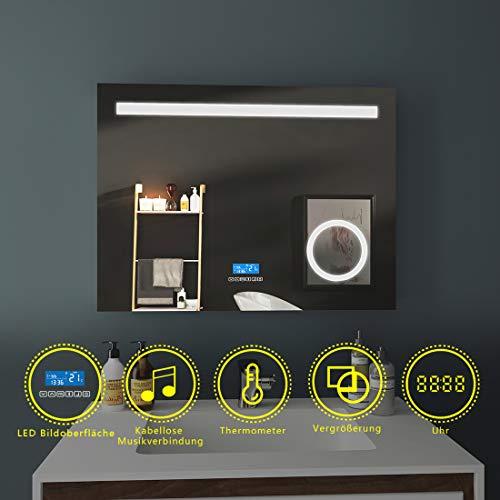 LED Badspiegel 80x60cm Beleuchtung Badezimmerspiegel Wandspiegel mit 3-Fach Vergrößerung, Bluetooth 4.1 Lautsprecher, Touch-Schalter, Uhr