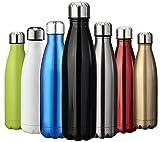 ZUSERIS Trinkflasche Vakuum Isolierte Edelstahl Thermosflaschen Wasserflasche Reisebecher für Schule, Sport, Fahrrad, Fitness 24 Std Kühlen & 12 Std Warmhalten BPA frei (Schwarz, 750ml-25oz)