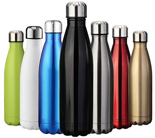 Zuseris bottiglia termica   doppia parete acciaio inox sottovuoto coibentato borraccia thermos per bambini esterni ciclismo campeggio fitness yoga senza bpa - (nero, 350ml-12oz)