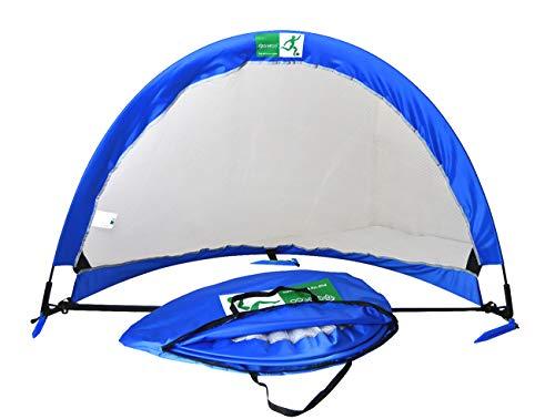greeco Pop Up Fußballtor-Set of 2, zwei tragbar Fußball Netze & Tasche, Jungen unisex Mädchen Kinder, Blue x White -
