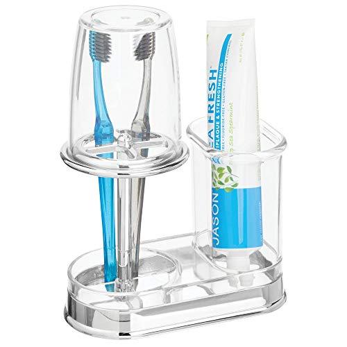 mDesign Zahnbürstenhalter mit Becher - hochwertiger Zahnputzbecher mit Deckel fürs Bad - Halterung für Zahnbürsten und Zahnpasta aus Kunststoff - durchsichtig/silberfarben