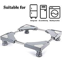 Base ajustable móvil multifuncional SMONTER, con 4patas fuertes y ruedas, para lavadora, secadora y frigorífico, color gris