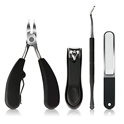 Precise Toenail Clippers, Stainless Steel Nail Nippers Tool Set for Ingrown and Thick Toenails with Nail Clipper Nail File and Nail Lifter for Perfect Pedicure and Manicure