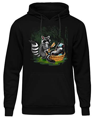 Waschbär vs Stinktier Herren Kapuzenpullover | Kostüm Tier Fasching Karneval Rocket Funshirt (L)
