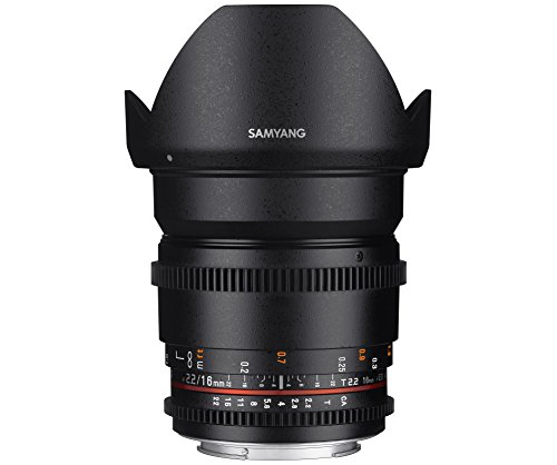 SAMYANG 13016T2.2N T2.2 VDLSR ED UMC CS II Objektiv für Anschluss Nikon (16mm)