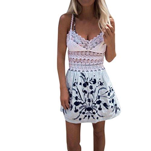 Longra Damen Sommerkleider Ärmellos Spitzenkleider Basic Kleider Shirtkleid Freizeitkleid Damen...