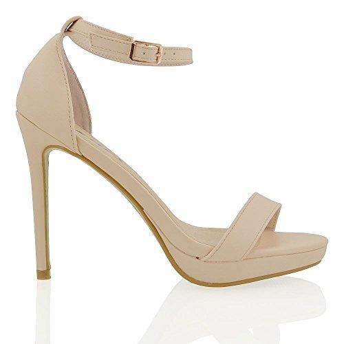 Essex Glam Scarpa Donna Peep Toe Tacco Alto Allacciatura Caviglia Carne Pelle sintetica