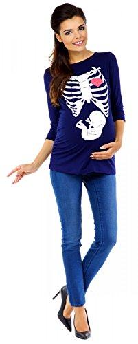 Zeta Ville Maternité - Tee shirt de grossesse motif humour imprimé - femme 615c Marine