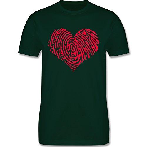 Statement Shirts - Herz Fingerabdruck Rot - Herren Premium T-Shirt Dunkelgrün