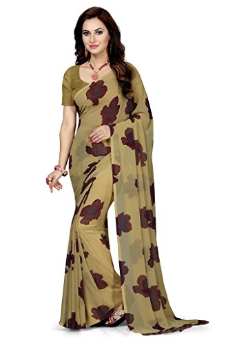 ishin Georgette Saree with Blouse Piece (ishin-A-20057_Beige_Free Size)