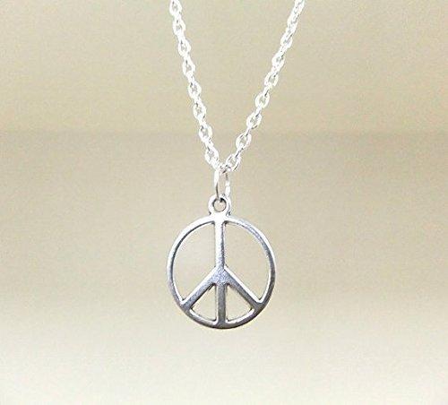 kleinen Peace silber Halskette-Silber Peace Zeichen Anhänger-Silber Boho Halskette