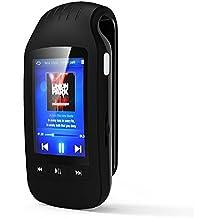 chenfec reproductor de mp3bluetooth 8GB pantalla botón con clip de deporte portátil Mini MP3/MP4reproductor de música apoyo TF/Micro tarjeta SD Max 32GB USB podómetro reproductor de vídeo