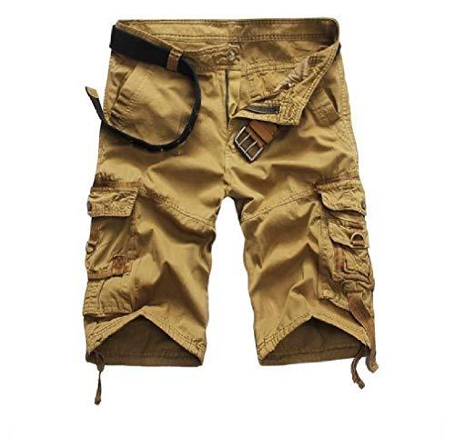 CuteRose Mens Stretch Slim Tailoring Cargo Twill Pant Multicamo Shorts Khaki 30
