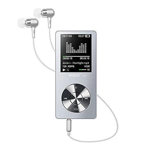 Hi-Fi 8Go Lecteur MP3 Fochea [La Dernière Version] MP3 Player Baladeur Sport Ultra-Mince avec Autonomie en Veille Ultra-longue 420 Heures et Jusqu'à 75 Hueres de Musique (8 GO Extensible par Carte Micro SD jusqu'à 128 GO) avec 1.8 Pouce Écran LCD