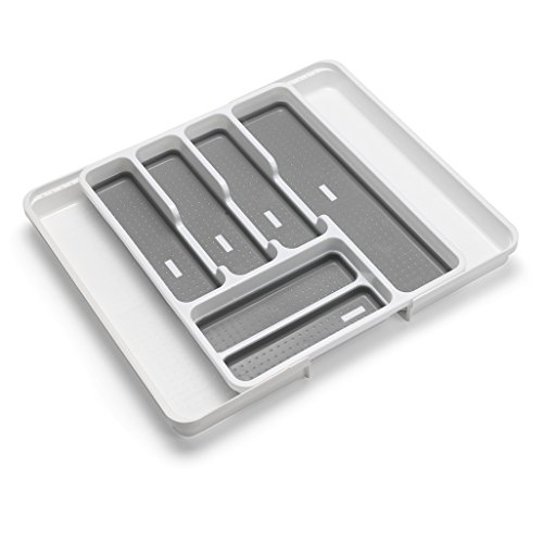 Addis Expandable Drawer Organiser Cutlery Utensil Tray with 6-8 Compartment Holders, White/Grey, 35-58.5 x 41.5 x 5 cm