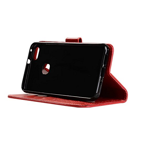 Abnehmbare 2 in 1 Crazy Horse Texture PU Ledertasche, Fairy Girl Embossed Pattern Flip Stand Case Tasche mit Lanyard & Card Cash Slots für Huawei P10 Lite ( Color : Rosegold ) Red
