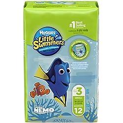 Huggies Little Swimmers Taille 3-4 (7-15 kg), Couche-Culotte de Bain pour Bébé x24 Culottes (Lot de 2 paquets de 12)