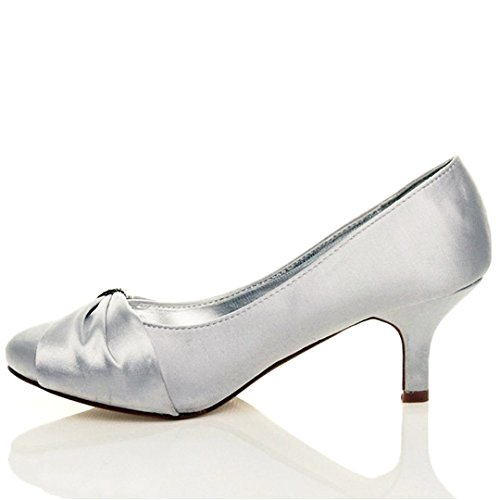 9c0c648c9b9 WOMENS SATIN HEELS LADIES WEDDING BRIDAL BRIDESMAID STILETTO LOW MID KITTEN  ...