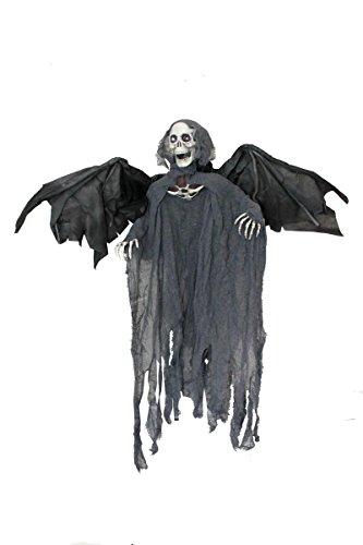 Accessoire décoration animatronique avec la mort aux yeux rouges clignotants qui bouge les ailes et fait du bruit. Idéal pour agrémenter votre soirée d'Halloween. (La mort)