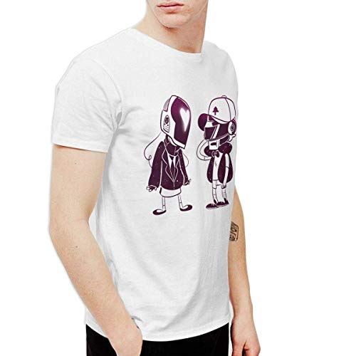 aiGosry Mens Classic Daft Punk Tee and Washed Denim Hat Casquette White,White,6X-Large