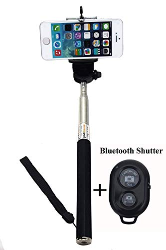 Preisvergleich Produktbild (TM) Extendable Self Portrait Selfie Handheld Stick Monopod with Smartphone Adajustable Phone Holder and Bluetooth Remote Wireless Shutter for iPhone Samsung and other IOS and Android Smartphone (Black & Shutter)