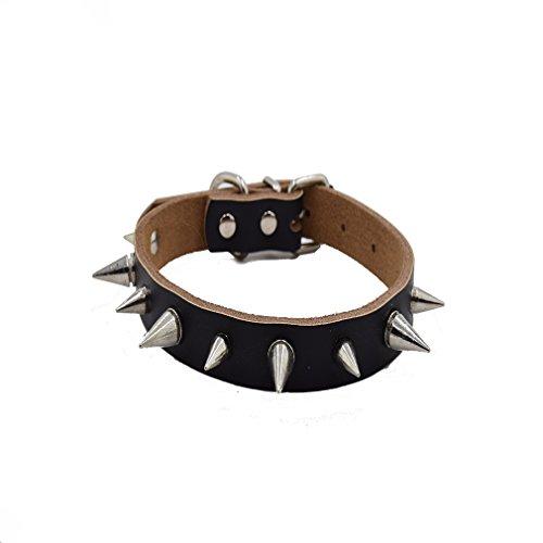 Generisches Spitz Nieten Halsband Lederhalsband Geeignet für Hunde Katze Teddy Handarbeit (M, Schwarz ) (O-ring Teddy)