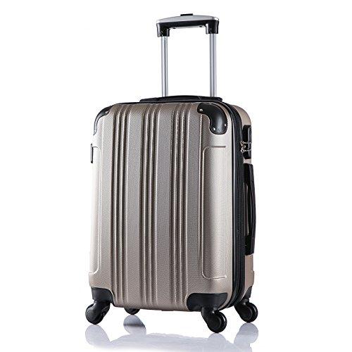 WOLTU RK4205ch Reise Koffer Trolley Hartschale mit erweiterbare Volumen , Reisekoffer Hartschalenkoffer 4 Rollen , M / L / XL / Set , leicht und günstig , Champagne (M, 56 cm & 42 Liter)