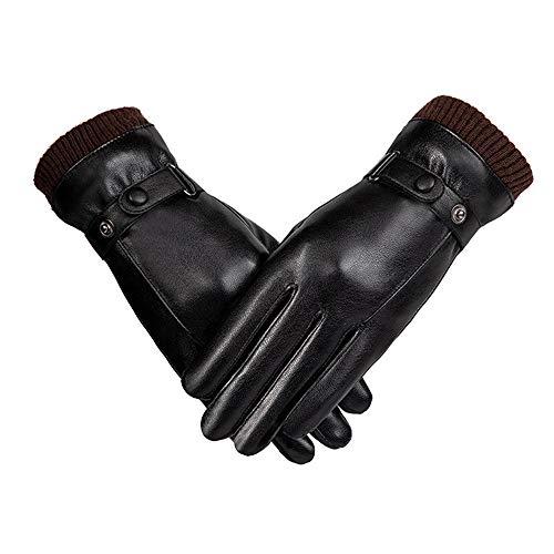 Luckyin Männer Winter Touchscreen SMS PU-Lederhandschuhe Wildleder Futter Winter warme Handschuhe Schwarz wasserdicht/Winddicht Fahren im Freien Kalte Winterhandschuhe für Männer,Women