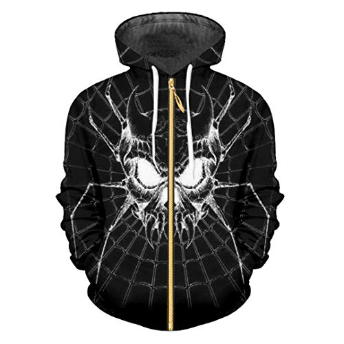 HensGalis Männer/Frauen 3D Digitaldruck Spider Sweatshirt Hoodies Sportswear Pullover Spider Black 4XL