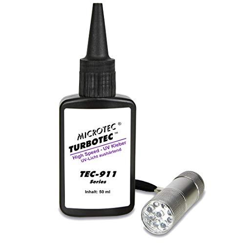 Microtec Turbotec 911 UV-Kleber | 50g | mit UV-Taschenlampe | Der schnellste Kleber der Welt - das Original | lichthärtender und transparenter Klebstoff | Qualitätsprodukt aus Deutschland -