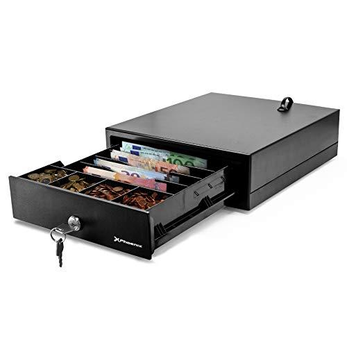 Phoenix Technologies   Cajón portamonedas eléctrico automático para dinero en efectivo con cerradura 4 compartimentos de billetes y 4 de monedas negro 24x28cm low cost